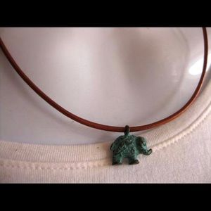 Elephant and Greek cord necklace